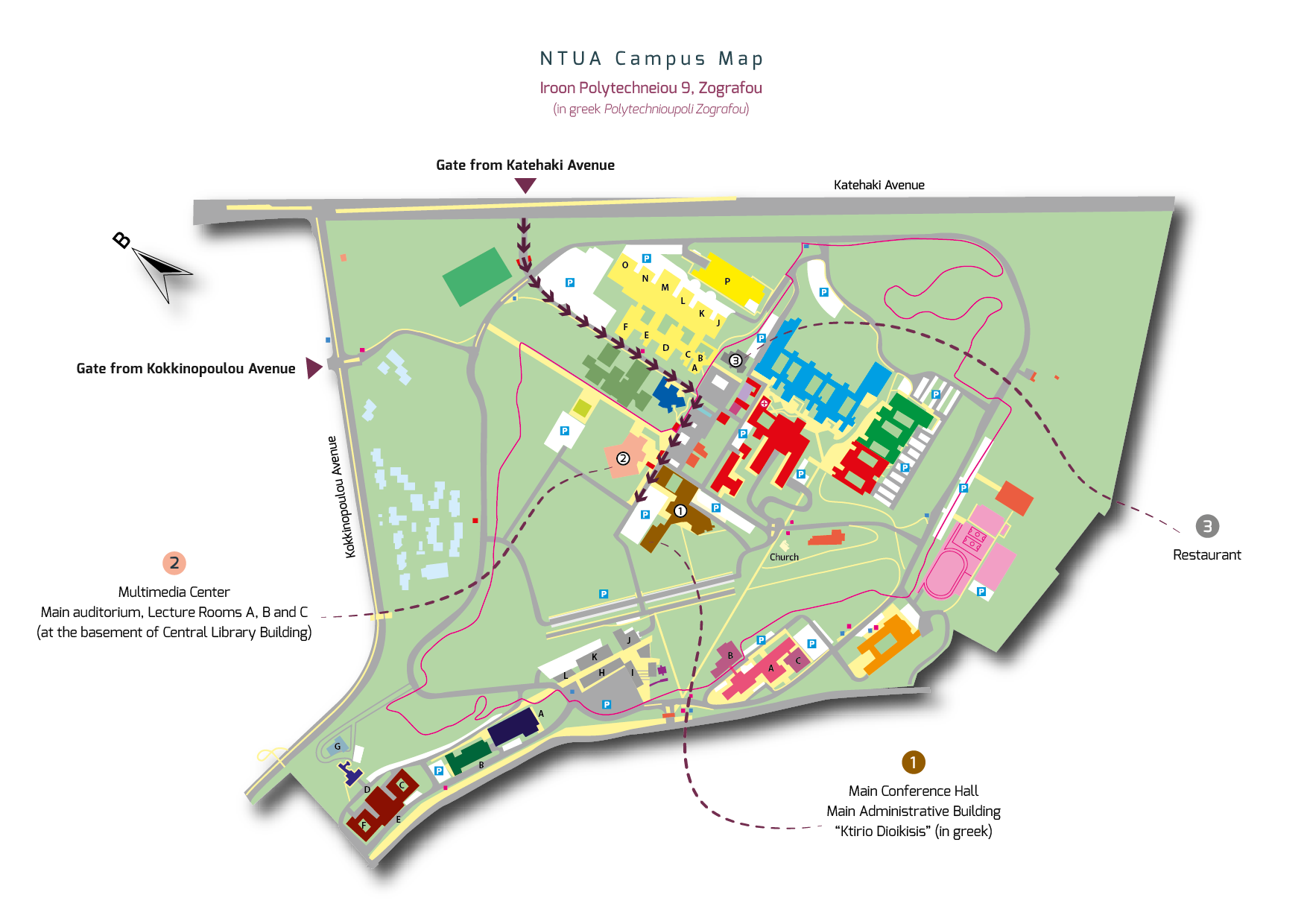 Athens Campus Map.Access To Ntua